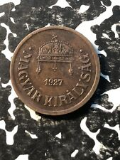1927 Hungary 2 Filler (9 Available) Circulated (1 Coin Only)