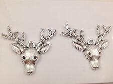 6pcs Tibetan Silver Antlers Charm Pendant Bead Jewellery Making 35*33mm