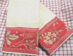 VILLA CAMELIA  2 Custom Hand Towels DECORATED W/ NEW Ralph Lauren fabric