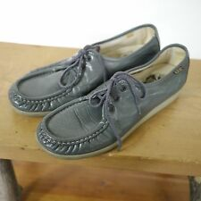 Vintage SAS Bounce Handsewn Gray Leather Granny Comfort Loafers Shoes 8.5N 39