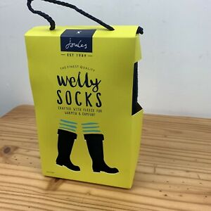 Joules Welton Embroidered Black Welly Socks (No Rain No Rainbow) UK5-6
