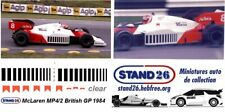 Decals McLaren MP4/2 marlboro british GP angleterre 1984 1/43e pour Minichamps