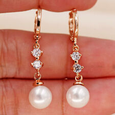 Clear Mini Round 18K Gold Filled Earrings Topaz Pearl Pendant Women Noble BR