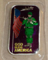 GOD BLESS AMERICA CMG Mint Proof Enameled .999 Silver Art Bar With COA Army