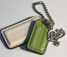 """Coach Fob Party Lovers Charm/Hang Tag Green/White Patent Leather Fob-Longest 2"""""""