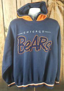 Chicago Bears STARTER Vintage Hoodie Pockets Size XL 90s Script Da Bears Soldier