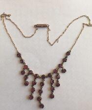 Victorian 9ct Gold Antique Garnet Chandelier Necklace