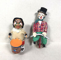 Lot 2 Vintage Toys Louis Marx & Co. Wind-up Tin Indian Drummer & Clown Unicycle