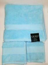NEW RALPH LAUREN WESCOTT 3 PC SET POOLSIDE BLUE BATH+HAND+WASH CLOTH TOWELS