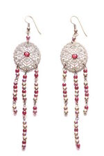 Exquisite-bronze Ornate Feature Red Diamante/Silver & Red Beads Earrings(Zx295)