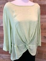 New~$48~ZAC & RACHEL Women XL Plus Light-Green 3/4-Sleeve Poly+ Top Shirt Blouse