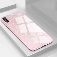 For Apple iPhone XS Max XR Marble Glass Case Hybrid Hard Shockrpoof Back Cover