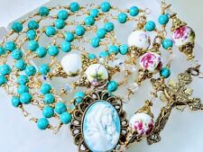 Beautiful Victorian Style Turquoise Bead Rose Ceramic Guadeloupe Cameo Rosary