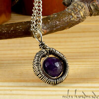 Facet Cut Amethyst Crystal Pendant Antiqued German Silver Wire Wrapped Gemstone