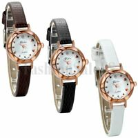 Womens Leather Band Round Dial Watches Quartz Analog Casual Wrist Watch Gift