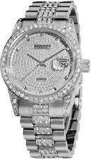 Akribos XXIV AK486SS Date Diamond Crystal Accents Stainless Steel Mens Watch