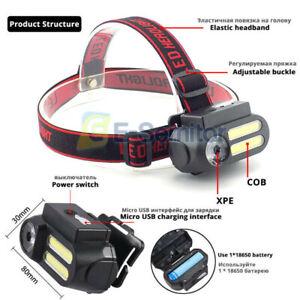 USB Rechargeable COB + LED Headlamp Head Torch Flashlight Headlight Work light