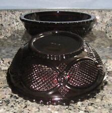 "Vintage Avon 1876 Cape Cod Ruby Red Glass (2) Salad - Fruit Bowls 8 3/4"" x 3"""