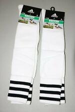 Adidas Soccer Socks 2 Pair 3 Stripe Sock Size Large White Black Stripes