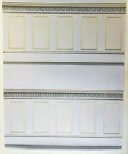 Dollhouse Miniature Panel Wallpaper with Borders Blue/Gray & Gold 1:12 Scale