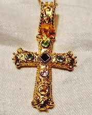 Gold Bonded On 925 Silver Cross Pendent Studded W/Swarovski Crystals On Chain