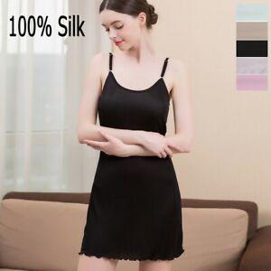 100% Silk women's Full Slip Chemise straps Nightdress Sleepwear M L XL HY123