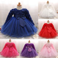 Baby Girl Princess Dress Bridesmaid Pageant Gown Birthday Party Wedding Dress AB