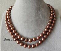 shell pearl necklace, doppelt Strand 10 mm Braun Muschel Perle Halskette