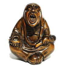 "Y5886 - 2"" Hand Carved Boxwood Netsuke : Oni Monster Man"