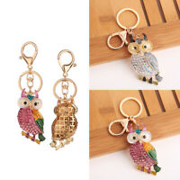EB_ Owl Rhinestones Car Keychain Key Ring Bag Pendant Hanging Ornament Gifts Can