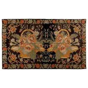 5.6x9.3 Ft Vintage Bessarabian Kilim, Floral Handwoven Wool Rug from Moldova