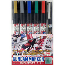 GUNDAM MARKER GMS121 Metallic COLOR PEN PAINT SET 6pcs GUNZE GSI CREOS MR HOBBY