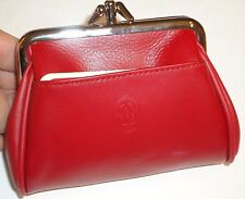 BUXTON Genuine Leather Triple Frame Coin Purse,Red