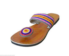 Women Slippers Indian Handmade Leather Traditional Flip-Flops Camel Chappal US 6