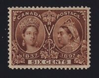 Canada Sc #55 (1897) 6c yellow brown Diamond Jubilee Mint VF H