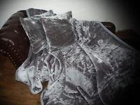 3tlg. Set Luxus Tagesdecke Kuscheldecke Decke grau / anthrazit + 2 Kissen 40x40