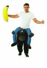 Para Hombre Gorila PIGGYBACK Disfraz Adulto Ride me en Mono Vestido De Fantasía Para Fiesta Despedidas De Soltero