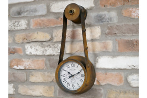 Industrial Wall Clock Pulley Fan Belt Style Clock Rural Eclectic Old Town 43cm