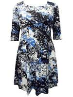 Threads tunic plus size 16 26 stretch ladies dress blue print