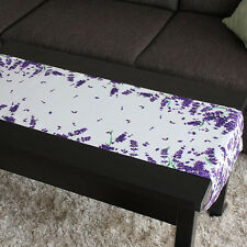 Lavender Print Table Runner 100% Polyester White with Purple Flowers
