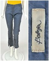 Womens Bottega Elisa Cavaletti Cropped Trousers Pants Blue Washed Cotton Size M