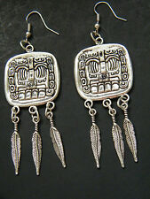 Mayan Ruins God Earrings Mexican Culture & 6 Feathers Aztec Silver Ear Wires NEW