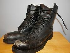 1980's Black Leather Military Boots By Cove Shoe Company Men's Size 9 N Used