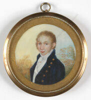 """""""Portrait of a young red-haired gentleman"""", fine miniature, early 19th century"""