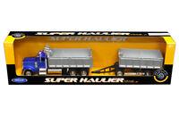 Peterbilt 379 Semi Truck Double Dump Trailer Diecast 1:32 Welly 22 inch Blue