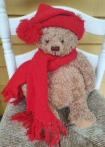 "Hallmark Mary Hamilton Bear Plush Red Hat Scarf 16"""