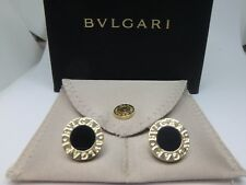 Authentic Bvlgari 18k Yellow Gold Round Inlaid Black Onyx CuffLinks w/ box