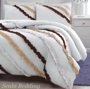 5 Piece Side Ruffle Duvet Cover Set 1000 TC Egyptian Cotton All Size & Color