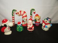 Vintage Christmas Squeaky Dog Toys Snoopy Santa Candy Cane Snowman & More (D68)
