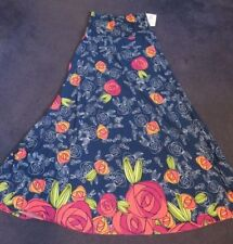 SMALL LuLaRoe MAXI DIPPED SKIRT blue pink cascading falling roses flowers NWT S